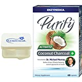 Enzymedica Purify Activated Coconut Charcoal with 60 Capsules and a Lumintrail Pill Case Included