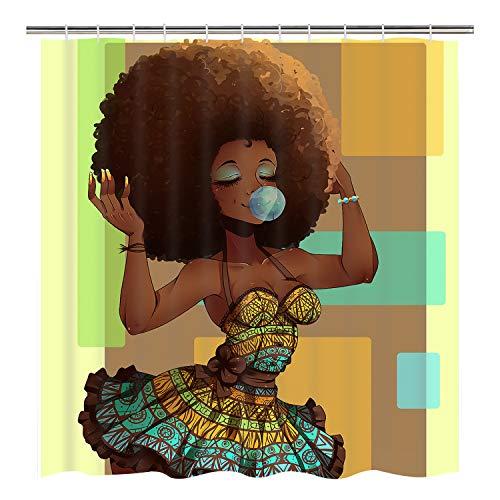 Sunm Boutique African Women Bathroom Shower Curtain Set Hooks Included, Anti-Mildew Waterproof Odorless Black Girl Shower Curtain Durable Bath Curtain Bathroom Accessories