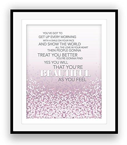 BEAUTIFUL by Carole King Song Lyrics Print Illustration Wall