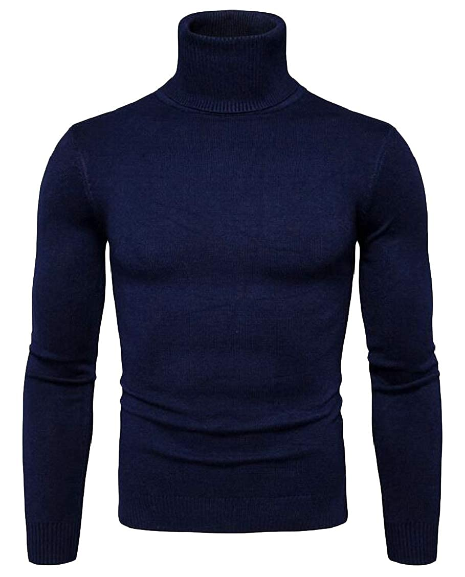 Hokny TD Men Plain High Neck Plain Casual Knitted Pullover Sweater Jumper Top