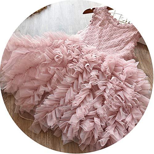 Flower Girl Dress Lace Button Dresses Kid Wedding Birthday Clothes Teenager Children Clothing Summer Vestidos Infantil 8T,as Photo,5