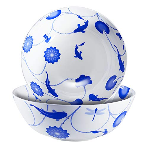 ZENS Pasta Bowls Soup Bowl Bone China,51 Ounce Large Serving Bowl Dinnerware Set Blue and White Floral for Salad