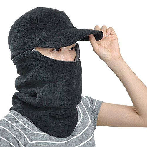 [Ezyoutdoor Unisex Winter Warm Skull Cap Outdoor Windproof Fleece Earflap Hat with Removable Zippered Face Mask Balaclava for Cycling Camping Hiking Running Traveling] (Homemade Childrens Alien Costume)
