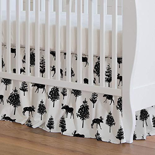 Carousel Designs Onyx Moose Crib Skirt 17-Inch Gathered 17-Inch Length - Organic 100% Cotton Crib Skirt - Made in The USA