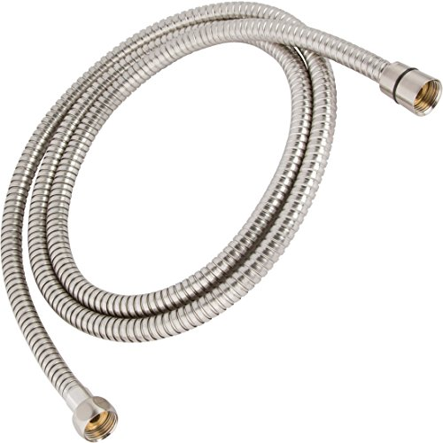 60 Inch Flexible Shower Hose - Extra Long, Stainless Steel, Double-Buckle For Handheld Showerhead - Aqua Elegante - Brushed - Outlet Niagra