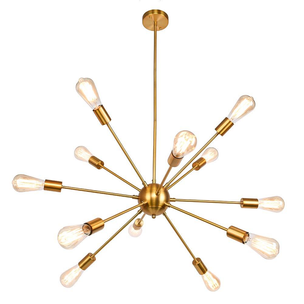 Sputnik Chandelier 12 Lights Modern Brushed Brass Ceiling Light Fixture Gold Industrial Vintage Pendant Lighting for Dining Room Kitchen Living Room Bedroom by LynPon