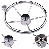 HOFFEN 13-1/2 Inch Stainless Steering Wheel With Turning Knob Destroyer Style Fits 3/4'' Tapered Shaft Helm