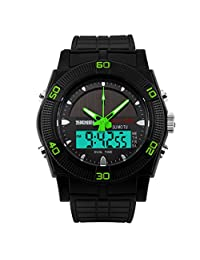 SKMEI Waterproof Dual Time Zone Sports Watch Solar Sport Combination Watch - Green