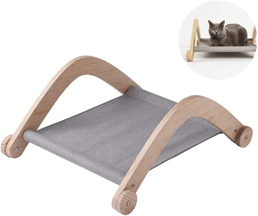 pidan Cat Beds for Indoor Cats Hammock Bed Wooden Cotton Padding Soft Comfy Great Gift Idea for Your Cat
