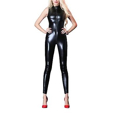 de6bf9233 OBEEII Women Sexy Wet Look Jumpsuit Open Crotch Zipper Catsuit Faux Leather  Bodysuit Playsuit Erotic Fetish Fancy Dress Pole Dance Costume  Amazon.co.uk   ...