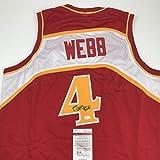 Autographed/Signed Spud Webb Atlanta Red Basketball Jersey JSA COA