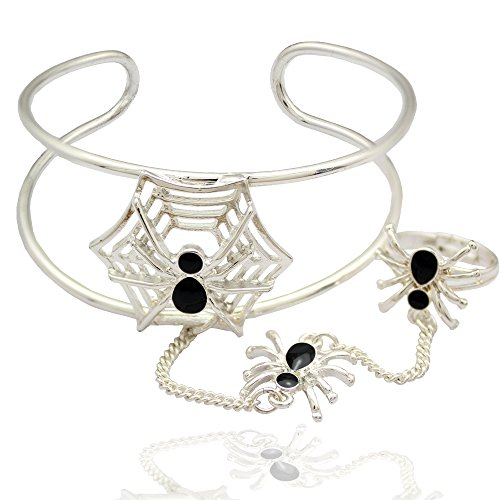 Q&Q Fashion Silver Plated Rare Black Enamel Spider & Web Cobweb Chain Hand Harness Ring Bracelet Bangle Cuff