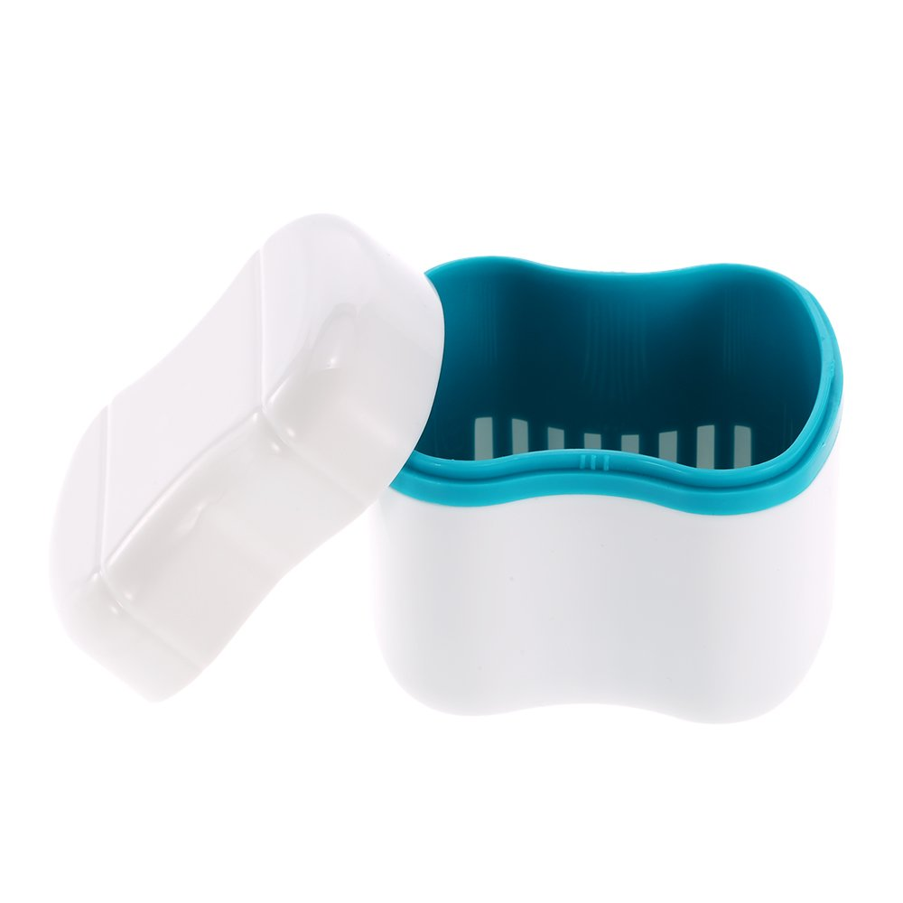 Anself Denture Bath Box Case Dental False Teeth Cleaning Container Rinsing Basket Retainer Appliance Holder Tray