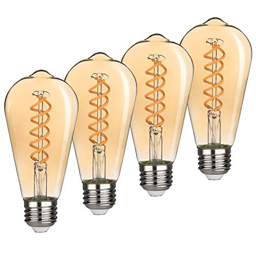 4.5W Dimmable Vintage LED Edison Bulbs, Warm Yellow 2500K, Antique LED Filament Light Bulbs, 4.5W Equivalent to 40W, ST64 (ST21) 400LM E26 Medium Base (Amber Finish-4 Pack)