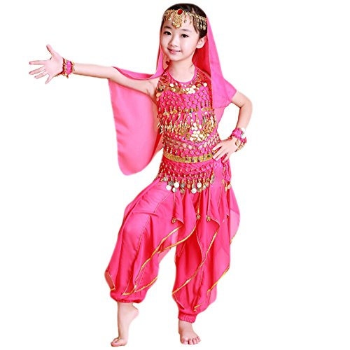 Saymequeen Girls Belly Dance Costume Full Sets Child Indian Dance Clothes (L, rose red) (Dance Costumes/ Wear)