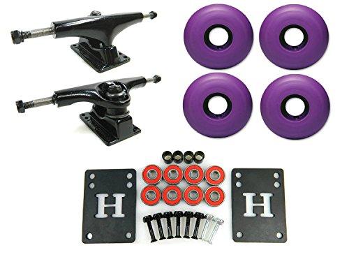 5.0 Black/Black Skateboard Trucks + 52mm Purple Wheels Combo
