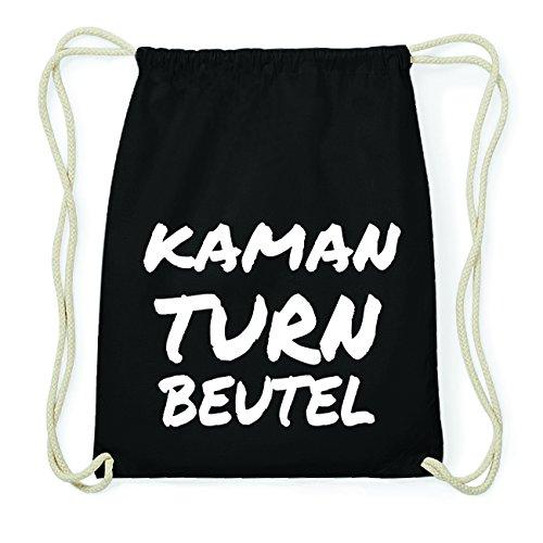 JOllify KAMAN Hipster Turnbeutel Tasche Rucksack aus Baumwolle - Farbe: schwarz Design: Turnbeutel