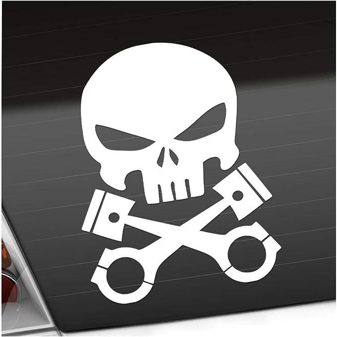 Kolben Skull Schädel 11 X 14 Cm In 15 Farben Neon Chrom Sticker Aufkleber Auto