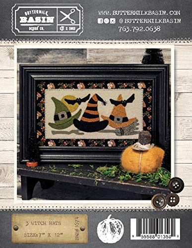 "3 Witch Hats Halloween Quilt Pattern - by Buttermilk Basin - Wool Applique - BMB 1674-7"" x 12"""