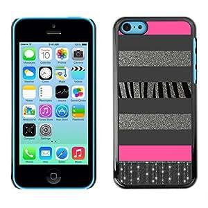 Design for Girls Plastic Cover Case FOR iPhone 5Cs Zebra Silver Lines Glitter Pattern Pink OBBA