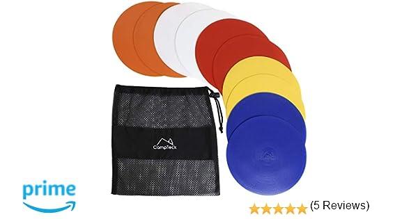 CampTeck U6934 - Conos Entrenamiento Planos de PVC Flexibles, Conos Planos (Paquete de 10) con Bolsa de Malla Negra - Colores Discos: Naranja, Azul, ...