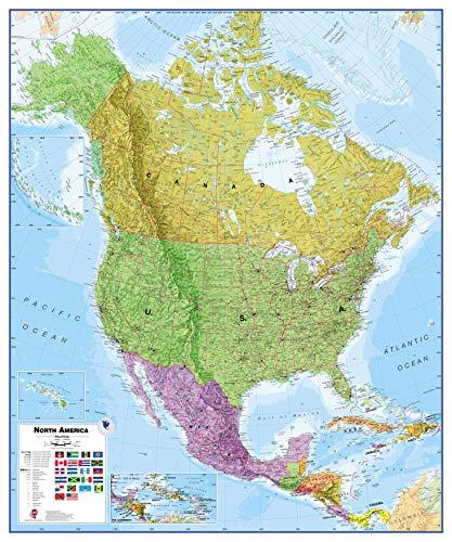 Maps International Huge Political North America Wall Map - Laminated - 46 x 55