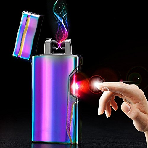 (Arc Lighter USB Rechargeable Electric Plasma Ligther Windproof Flameless X Dual Arc Cigarette Lighter Tesla Lighter Cool Infrared Laser Switch (Rainbow))