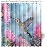 Cute And Beautiful Hummingbird Animal Pattern Waterproof Bathroom Decor  Fabric Shower Curtain Polyester 66 X 72 Inches