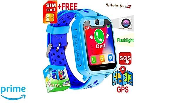 Amazon.com: [FREE SIM Included]Kid Smart Watch Phone GPS ...