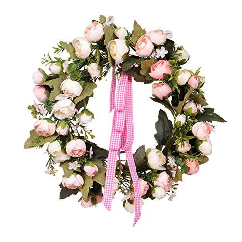 Maikouhai Artificial Rose Wreath, Simulation Flower Leaf Wreath Wall Window Door Hanging Home Office Decor Wedding Graduation Engagement Festival Celebrations - 13.77x13.77x2.36 Inch