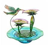 Indoor Hand Painted Hummingbird Glass Tabletop Water Fountain