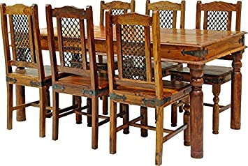 Jaipur SOLID SHEESHAM WOOD JALI LARGE DINING TABLE 6 CHAIRS