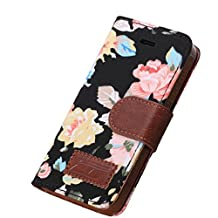 Changeshopping(TM) 1PC Magnetic Wallet Floral Jacquard Leather Cover Case For iPhone 5C Black