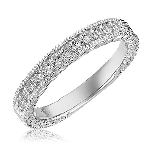Mars wings Sterling Silver Platinum-Plated Elegant Cut CZ Diamond Engagement Wedding Ring Set 2pcs(New) by Mars wings (Image #5)