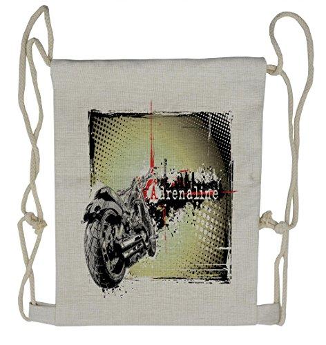 Lunarable Digital Drawstring Backpack, Adrenaline Racer Motorbike, Sackpack Bag ()