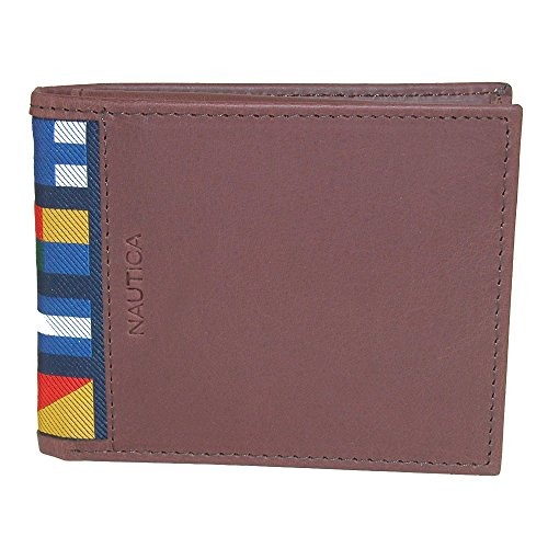 Nautica Men's Mclures Leather Slim RFID Protected Passcase Bifold Wallet (Cognac)