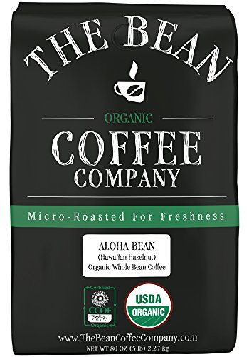 The Bean Coffee Company, Aloha Bean (Hawaiian Hazelnut) Organic Whole Bean Coffee, 5-Pound Bags