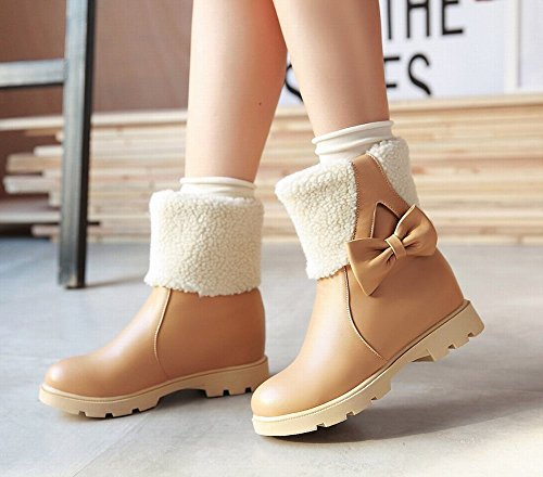 Bows Ankle Snow Womens Mee high heel Shoes Side Inside Albicocca Boots qnInpSPw