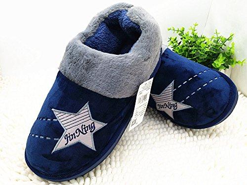 CWAIXXZZ pantoufles en peluche Le roi avec chaussures coton 48 49 50 délargir lengrais xl antidérapant pour hommes Chaussons en coton chaud dhiver en cuir supérieur, 310 (pour un 44-45 pied), bleu