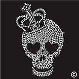 Rhinestone Diamante Crystal Iron On T Shirt Design Transfer - CROWN SKULL HEART EYES