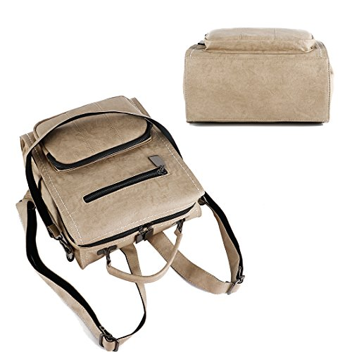 Beige Bag Mynos Ladies Handbag Women Backpack Leather Gray Rucksack Shoulder Purse qqSv6wH