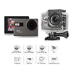 Wyne Technology 4K WIFI Sports Action Camera Waterproof Ultra HD 12MP 170 Degree Wide Angle 2.0 Inch LCD Screen 30M/98FT DV Camcorder for Extreme Outdoor Sports with Complete Accessory Kits