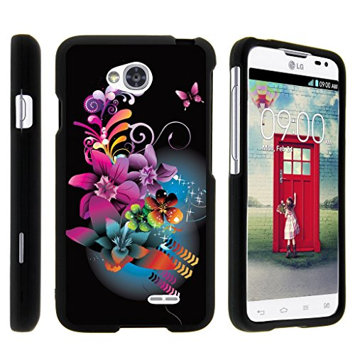 - MINITURTLE Case Compatible w/ Miniturtle [LG Optimus L70 Case, Ultimate 2 Case, Optimus Exceed 2 Slim Cover] [Snap Shell] 2 Piece Slim Snap On Hard Plastic Case Purple Flower Butterfly