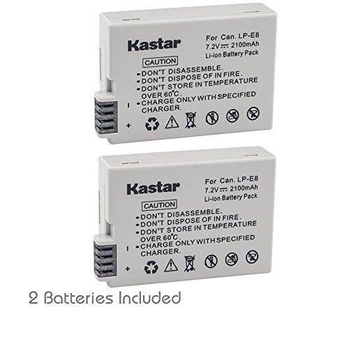 Kastar 2 Pack Replacement Batteries For Canon LP-E8 LPE8 and Canon Rebel T3i T2i 550D Digital Cameras