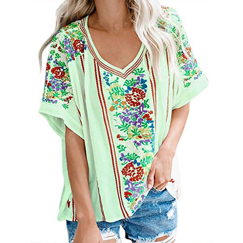 YKARITIANNA Women's Ladies Sexy V-Neck Short Sleeve Print Loose Pullover Shirt Tops Green ()