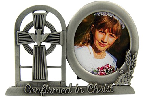 Pewter Confirmation Frame - Pewter Confirmed in Christ Confirmation Cross Table Top Picture Frame, 3 Inch