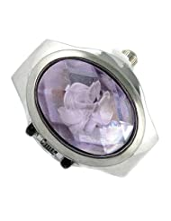 MapofBeauty Oval Faceted Crystal Inlay Hunter Case Quartz Finger Ring Watch (Light Purple)