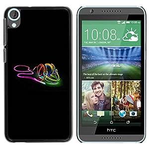 Caucho caso de Shell duro de la cubierta de accesorios de protección BY RAYDREAMMM - HTC Desire 820 - Neon earphones