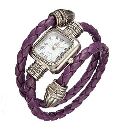 Vavna Vintage Square Dial Leather Bangle Bracelet Wrist Watch for Women Ladies Girls Watch (purple)
