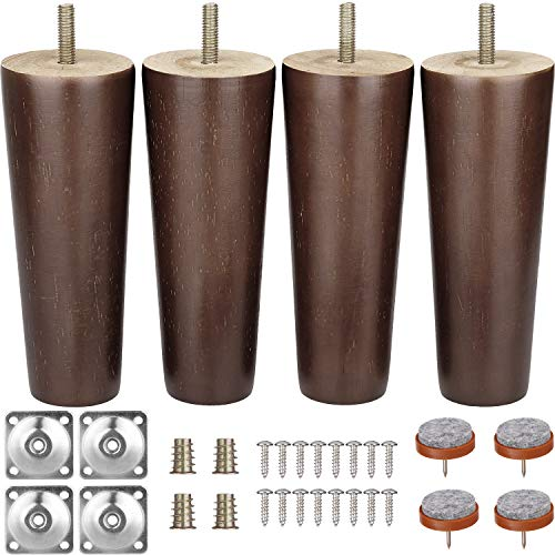Walnut Couch - Furniture Legs 6 Inches Sofa Legs Mid Century Modern Walnut Wood Furniture Feet Replacement Legs with Leg Mounting Plates & Felt Protectors for Sofa Cabinet Couch Ottoman Coffee Table Bench Chair